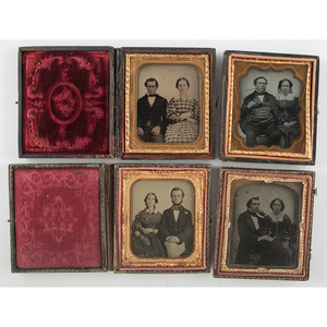Sixth Plate Cased Images of Well Dressed Couples, Lot of 4
