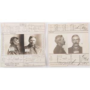 Two Western Mug Shot Cards, 1908-1910