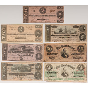 Confederate States of America Paper Currency Assortment, Lot of Twelve