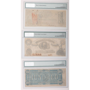 Confederate States of America Paper Currency PMG, Lot of Three