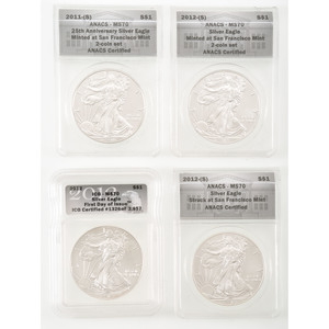 United States Eagle Silver Dollars, Lot of Four