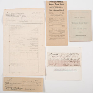 Late 19th-Early 20th Century Documents and Imprints, Incl. Woman's Relief Corps Booklet, Program from Reception for Dewey, and Check Signed by Melvin Purvis