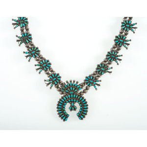 Zuni Petite Point Turquoise and Silver Squash Blossom Necklace