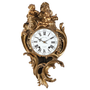Louis XV Ormolu Cartel Clock by Jean Antoine Voisin