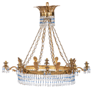 Continental Crystal and Gilt Chandelier