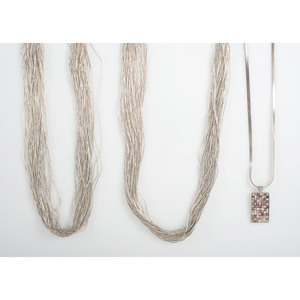 Multi-Strand Liquid Silver Necklaces with Mexican Inlaid Sterling Silver Pendant