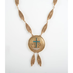 Ted Charveze (Isleta, 20th century) 14K Gold, Diamond, and Turquoise Necklace
