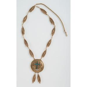 Ted Charveze (Isleta, 20th century) 14K Gold, Diamond, and Turquoise Necklace