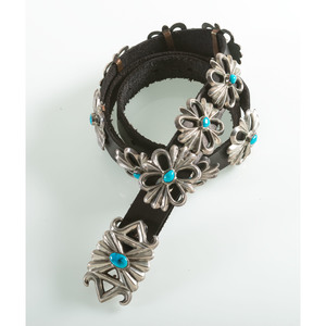 Navajo Silver and Turquoise Concha Belt PLUS Complementing Necklace