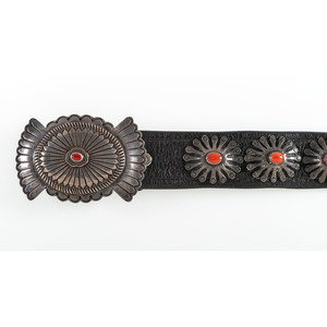 James Reid Ltd., Santa Fe, Silver and Coral Concha Belt