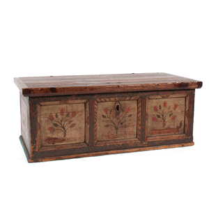 Paint Decorated Dower Chest with Tulips, Dated 1837