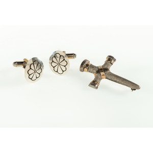 Mexican Sterling Silver Cuff Links And 14K Gold and Sterling Pin