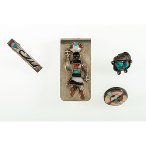 Zuni, Hopi, and Navajo Silver Tie Tacks and Money Clip