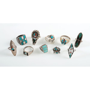 Zuni Inlaid Silver Rings