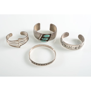 Sidney and Arlene Nez (Dine, 20th century) Navajo Sterling Silver and Turquoise Cuff, PLUS