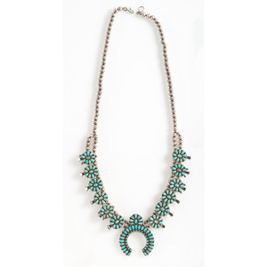 Zuni Petit Point Turquoise and Silver Squash Blossom Necklace