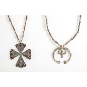A Silver Naja PLUS A Southwestern Silver Cross Necklace