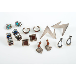 Collection of Southwestern Silver and Inlay Earrings