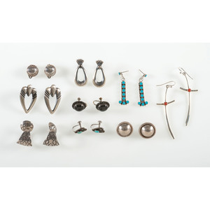 Collection of Southwestern Silver, Turquoise, Coral, and Onyx Earrings