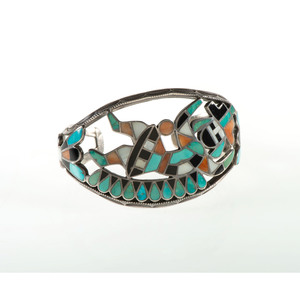 Zuni Chanel Inlaid Rainbow Man Cuff Bracelet