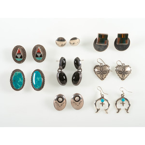 Collection of Southwestern Silver Earrings