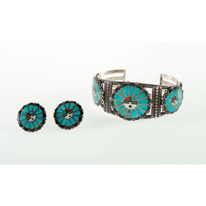 Frank Vacit (Zuni, 1915-1999) Mosaic Inlaid Sunface Cuff Bracelet AND Matching Earrings