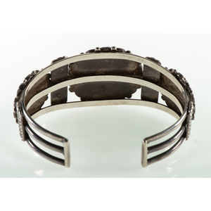 Frank Vacit (Zuni, 1915-1999) Mosaic Inlaid Sunface Cuff Bracelet AND Matching Earrings