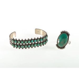 Zuni Silver and Petit Point Turquoise Cuff Bracelet PLUS A Navajo Silver and Turquoise Ring