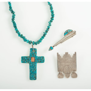 Pueblo Sterling Silver and Turquoise Pins and Necklace