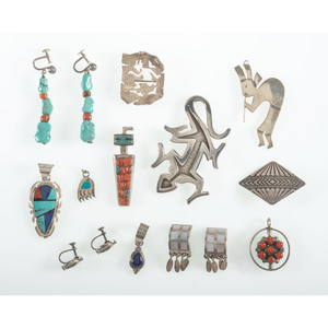 Assorted Group of Native and Southwest Pins, Pendants, and Earrings