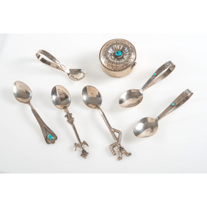 Navajo Silver Salt Spoons PLUS Sterling Silver and Turquoise Trinket Box