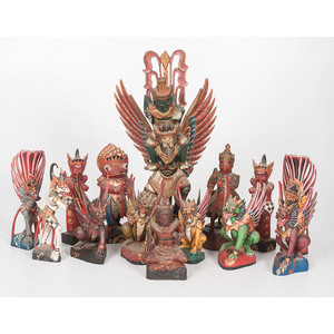 Lot of Twelve Carved Indonesian Figures