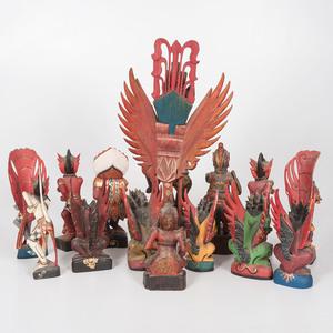Lot of Twelve Carved Indonesian Figures