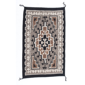 Caroline Lewis (Dine, 20th century) Navajo Two Grey Hills Weaving / Rug