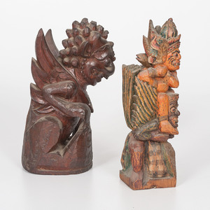 Lot of Two Indonesian Carved Figures
