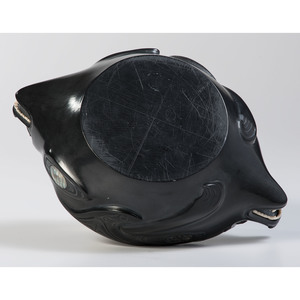 Alfie Collinson (Haida, b. 1951) Argillite Lidded Bowl, Wasco and Killer Whale