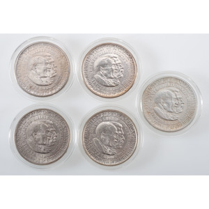 United States Carver/Washington Commemorative Half Dollars 1951-1954, Lot of Five