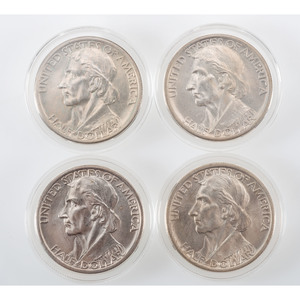 United States Daniel Boone Bicentennial Commemorative Half Dollars 1934-1936, Lot of Four