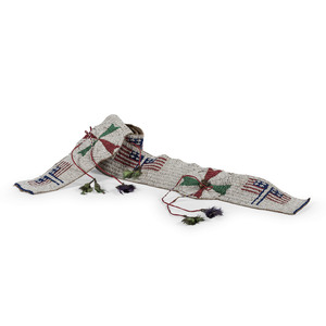 Sioux Beaded Hide Blanket Strip with American Flags and Quilled Drops