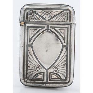 Silverplate Match Safe with Egyptian Motif