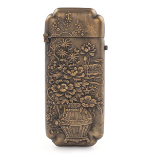 Japanese Brass Match Safe with Flowers
