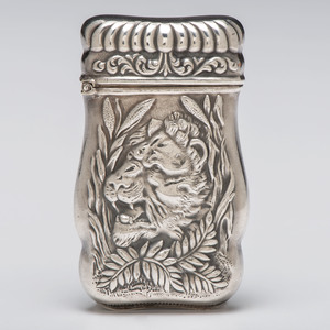 Empire Art Silver Match Safe with Lion Motif