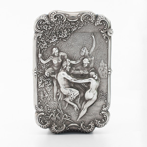 Kerr Sterling Match Safe with Pan and Women Dancing