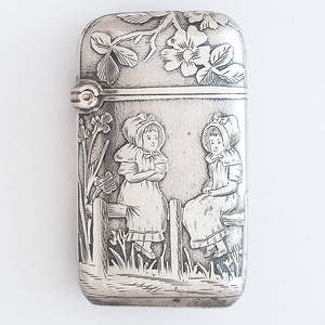 French Sterling Floral Match Safe
