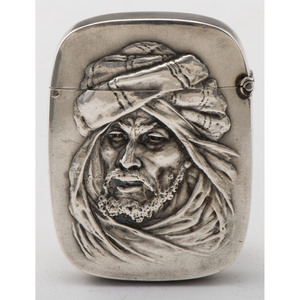 Sterling Match Safe Decorated with Man in Turban