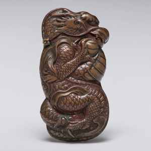 Copper Dragon Figural Match Safe