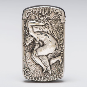 Silverplate Match Safe with Leda and the Swan