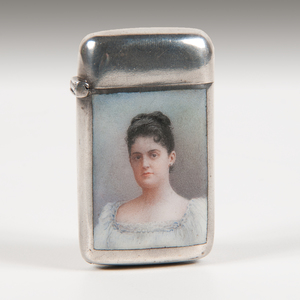.800 Silver Match Safe with Ceramic Portrait