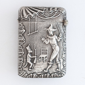 French Silver Match Safe with Clown and Monkey