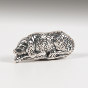 Gorham Silverplated Figural Dog Match Safe